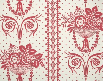 1950s Vintage Wallpaper by the Yard - Floral Wallpaper with Red French Style Victorian Flowers on Cream
