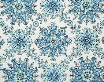 1950s Vintage Wallpaper by the Yard - Blue Snowflake Geometric