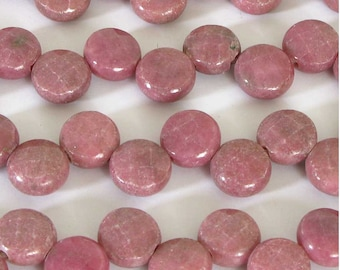 8mm Rhodonite Beads, 8mm Rhodonite Faceted Coin Beads, Faceted Rhodonite Beads, Natural Pink Gemstone Beads, 15 Inch Strand, Rho213