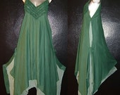 Long Casual Green Floaty FAIRY EMPIRE DRESS Plus Size 18 20 22 1X 2X 3X Summer Larp Medieval Gothic Lagenlook Sundress