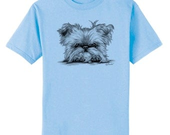 Brussels Griffon on Paws Dog Art T-Shirt Youth and Adult Sizes