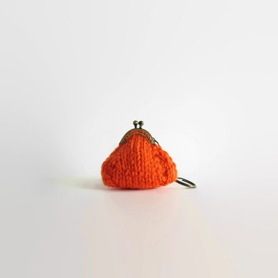 Keychain Coin Purse Knitted in Orange Wool