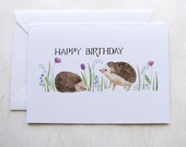 Happy Birthday Hedgehogs Illustrated Greeting Card