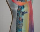 100% silk scarf Chicago skyline print of an original mosaic painting