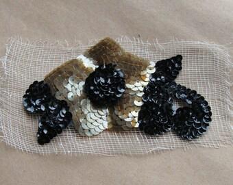 Vintage Black & Gold Sequin Flower Applique Trim Millinery Hat New Old Stock