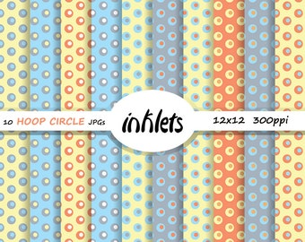 Yellow Blue Circle Hoop Paper Pack - 10 JPGs - Instant Download - Scrapbooking Pattern - paper Supplies - CirHo3 1010