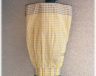 YELLOW & WHITE GINGHAM -  Embroidered in Brown