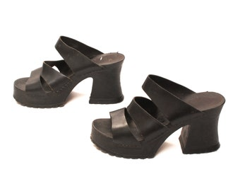size 8 PLATFORM black leather 80s 90s CLOG chunky strapppy sandals