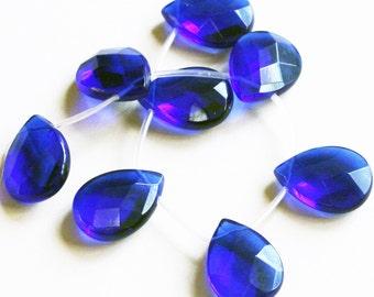 4 pcs London blue quartz glass faceted flat briolette 18x25mm, pendant drops, earrings drops