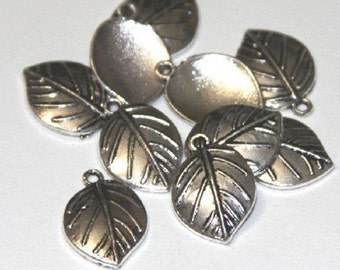 10 pcs of Antiqued  Silver Leaf drops 13.5X19mm