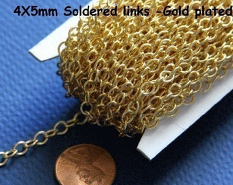 32ft spool of Gold plated round cable chain 4X5mm - Soldered Links