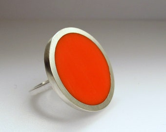 Statement Ring - Big Round Orange Resin Ring - Orange Rings - Large Ring - One Inch Silver Ring - Sixties Pop Art Jewelry
