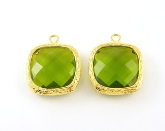 Apple Green Pendant Drops with Textured Gold Bezel Frame Metal Olive Green Briolette Faceted Charm Green Earring Drop |GR6-2|2
