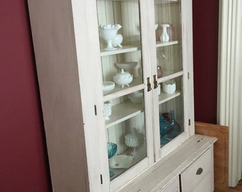 Antique Cabinet Step Back Cupboard with Glass Front Doors Bead board Farmhouse Style Primitive Cottage Chic (00130-TP)