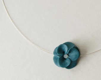 Teal Flower Necklace - Polymer Clay & Sterling Silver