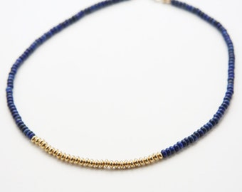 Color-blocked Natural Blue Lapis Lazuli and 14k Gold Rondelle Beaded Necklace (N99)