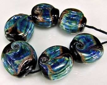 Glass Lampwork Bead Set Black Blue SRA Glass Beads