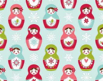 Aqua Blue Main Merry Matryoshka Fabric by Carly Griffith for Riley Blake Designs