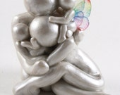 Family of 4 sculpture with one earthside and one heavenside baby - twinless twin or rainbow baby memorial gift - clay angel - made to order