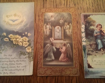3 Vintage 1930's Catholic Paper Cards Angels Religious God Understanding