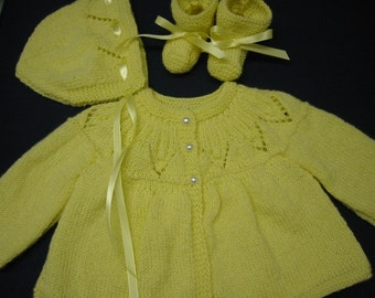 Baby Sweater Set, Hand Knitted 3-6 months Baby Girl Sweater Bonnet Booties Yellow Lace