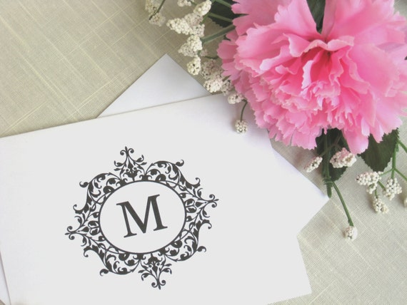 Elegant Monogram Note Cards  - Custom Stationery - Set of 8 Wedding Thank You  Cards - Choose Color