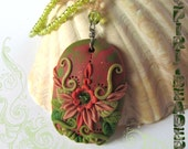Fairy Wings Garden Crystal Flowers Vines Polymer Clay Pendant Beaded Necklace