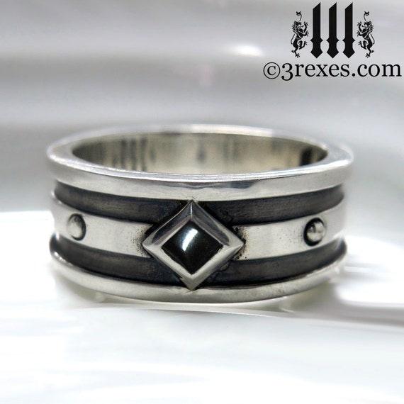 Silver Wedding Ring Black yx Mens Engagement Band Moorish