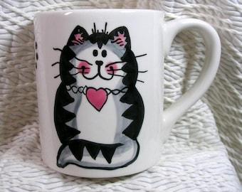 Cat Mug Grey Tabby With Heart Handmade Earthenware Ceramic by GMS