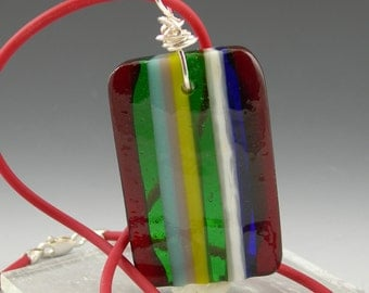 Modern Geometric Striped Fused Glass Reversible Pendant Necklace with Sterling Silver Wire Wrapped Bail in Red Blue Green Ivory Turquoise