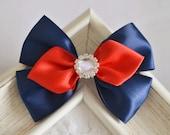 NEW! Set of 2pcs handmade Satin Bows--navy/red/white (GR1169)