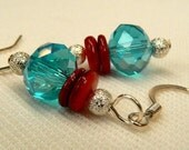 Aqua Blue Crystal Earrings, Ruby Red Shell Earrings, Turquoise Crystal & Red Shell Earring Dangles, Light Blue Dangle Earrings (E1)