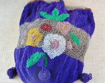 1920s Flapper Purse Cobalt Beads with Flowers Beaded Bag Vintage Blue
