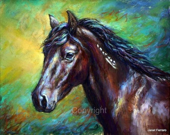 Mustang Horse Painting-Horse art print of 'Orion'