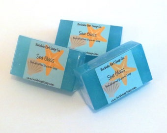 Sea Glass Soap Mini GUEST BAR Glycerin Soap Ocean Water, Beach, Citrus Blend