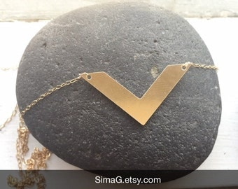 simple and sexy triangle gold filled necklace - handmade by SimaG