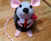 CLOSING DOWN SALE Valentines day I love you mouse ornament felt cute gift for animal lover or collector - Ross the Valentines Mouse