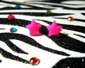 Pink Star Earrings, Hot Pink Neon Glitter Posts, Minimalist, Kitsch Kawaii, Small Simple Celestial Studs