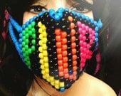 PLUR Kandi Mask, Neon Surgical Kandi Rave Mask, Black and Blue