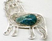 Vintage Eilat Stone Lion Pin - Jerusalem Israel - Lion Of Judah - Sterling Silver
