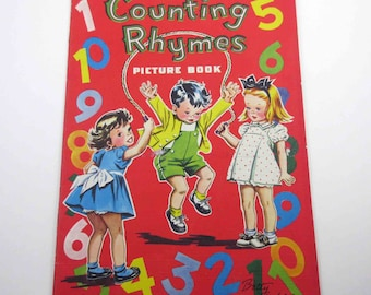 Counting Rhymes Picture Book Vintage 1950s Over Sized Children's Textured Book by Whitman