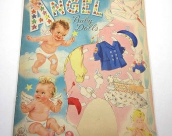 Vintage 1940s Angel Baby Paper Dolls and Accessories with Partial Original Folder