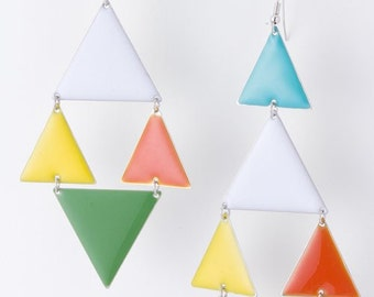 PRIMARY triangles color metal egyptian goddess peach pink green yellow white pyramid style earrings metal disc circles long chic geometric
