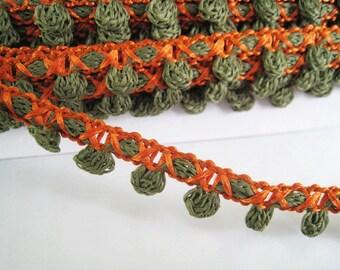 6 yards of Small Crochet Pom Pom Trim -  Dark Green and Orange  - Pom Pom size 0.5 cm