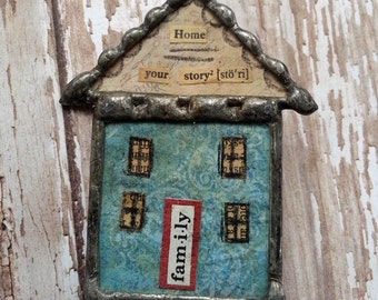 Soldered Glass House Brooch Home Your Story Primitive Collage Art Under Glass OOAK Pin Wearable Art Saltbox House