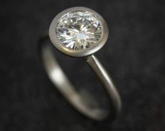 Modern Moissanite 14k Palladium White Gold Engagement Ring // Unique 14k Satellite Ring Design  // Conflict Free Diamond Alternative