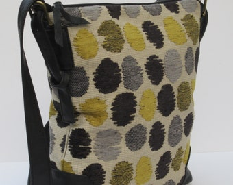 Large SHOULDER BAG  Zots Dots Fabric and Leather SATCHEL
