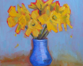 Still Life Oil Painting:  Daffodils // 12 x 12 Gallery Wrap Canvas