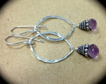 AMBROSIA DEW, Amethyst and Sterling Silver Earrings Artisan Crafted by Meshel Designs