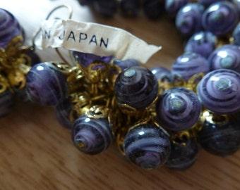 12 Japanese 8mm Swirled Amethyst Purple Glass Bead Dangles C29